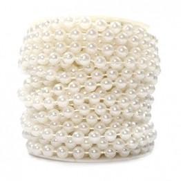 Sepkina Perlenband Perlenkette Perlengirlande Perlenschnur Weihnachten Advent Hochzeit Deko Tischdeko Rolle (S-P6-01-weiss-10m) (0,80€/m) - 1