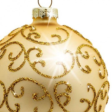 Sikora Highlights 4er Set ausgefallene Christbaumkugeln aus Glas Gold, Größe:8 cm, Farbe/Modell:Modell Florenz Gold - 3
