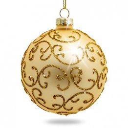 Sikora Highlights 4er Set ausgefallene Christbaumkugeln aus Glas Gold, Größe:8 cm, Farbe/Modell:Modell Florenz Gold - 1