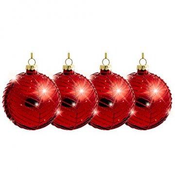Sikora Highlights 4er Set ausgefallene Christbaumkugeln aus Glas Rot, Größe:8 cm, Farbe/Modell:Modell New York rot - 2
