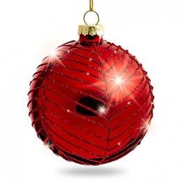 Sikora Highlights 4er Set ausgefallene Christbaumkugeln aus Glas Rot, Größe:8 cm, Farbe/Modell:Modell New York rot - 1