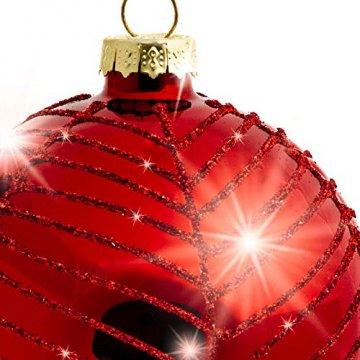 Sikora Highlights 4er Set ausgefallene Christbaumkugeln aus Glas Rot, Größe:8 cm, Farbe/Modell:Modell New York rot - 4