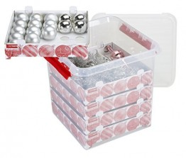 Sunware Q-Line Weihnachtskugeln mit Ablagen für 125 Kugeln transparent rot 38 Liter - 1