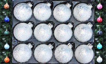Thüringer Glasdesign 12x GLAS EISLACK CHRISTBAUMKUGELN 6cm WEIß TOP WEIHNACHTSKUGELN KUGELN - 1