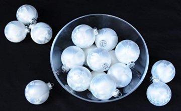 Thüringer Glasdesign 12x GLAS EISLACK CHRISTBAUMKUGELN 6cm WEIß TOP WEIHNACHTSKUGELN KUGELN - 5