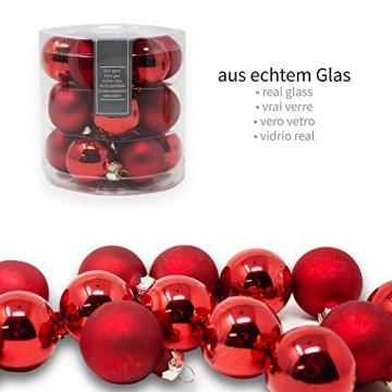 ToCi Mini Weihnachtskugeln Glas - 18er-Sets kleine Christbaumkugeln Ø3cm - Baumschmuck farblich Sortiert glänzend matt Weihnachten Deko Anhänger (Rot - Matt - Glänzend) - 2