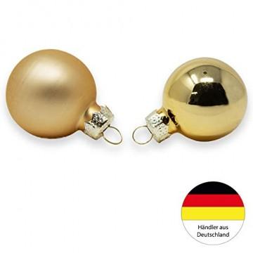 ToCi Mini Weihnachtskugeln Glas - 18er-Sets kleine Christbaumkugeln Ø3cm - Baumschmuck farblich Sortiert glänzend matt Weihnachten Deko Anhänger (Gold - Matt - Glänzend) - 4