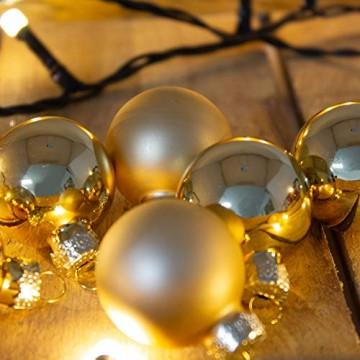 ToCi Mini Weihnachtskugeln Glas - 18er-Sets kleine Christbaumkugeln Ø3cm - Baumschmuck farblich Sortiert glänzend matt Weihnachten Deko Anhänger (Gold - Matt - Glänzend) - 6