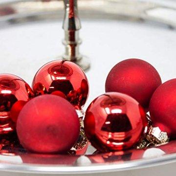 ToCi Mini Weihnachtskugeln Glas - 18er-Sets kleine Christbaumkugeln Ø3cm - Baumschmuck farblich Sortiert glänzend matt Weihnachten Deko Anhänger (Rot - Matt - Glänzend) - 3