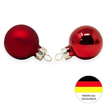 ToCi Mini Weihnachtskugeln Glas - 18er-Sets kleine Christbaumkugeln Ø3cm - Baumschmuck farblich Sortiert glänzend matt Weihnachten Deko Anhänger (Rot - Matt - Glänzend) - 4