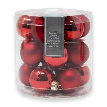 ToCi Mini Weihnachtskugeln Glas - 18er-Sets kleine Christbaumkugeln Ø3cm - Baumschmuck farblich Sortiert glänzend matt Weihnachten Deko Anhänger (Rot - Matt - Glänzend) - 1