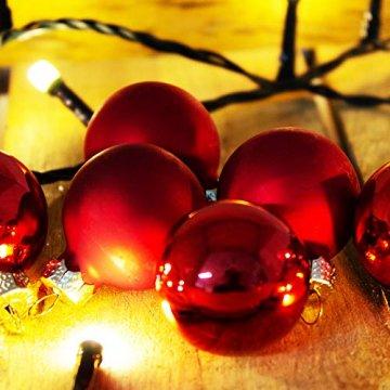 ToCi Mini Weihnachtskugeln Glas - 18er-Sets kleine Christbaumkugeln Ø3cm - Baumschmuck farblich Sortiert glänzend matt Weihnachten Deko Anhänger (Rot - Matt - Glänzend) - 5