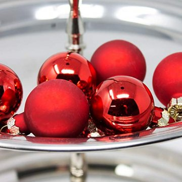 ToCi Mini Weihnachtskugeln Glas - 18er-Sets kleine Christbaumkugeln Ø3cm - Baumschmuck farblich Sortiert glänzend matt Weihnachten Deko Anhänger (Rot - Matt - Glänzend) - 6