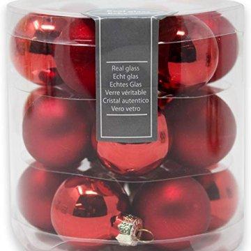 ToCi Mini Weihnachtskugeln Glas - 18er-Sets kleine Christbaumkugeln Ø3cm - Baumschmuck farblich Sortiert glänzend matt Weihnachten Deko Anhänger (Rot - Matt - Glänzend) - 7