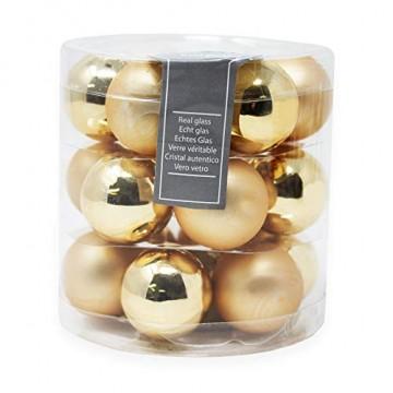 ToCi Mini Weihnachtskugeln Glas - 18er-Sets kleine Christbaumkugeln Ø3cm - Baumschmuck farblich Sortiert glänzend matt Weihnachten Deko Anhänger (Gold - Matt - Glänzend) - 1