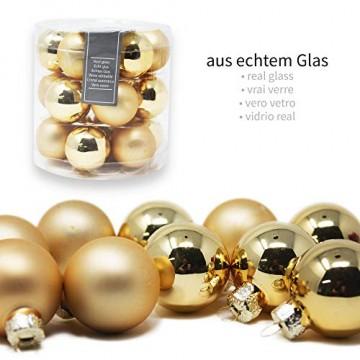 ToCi Mini Weihnachtskugeln Glas - 18er-Sets kleine Christbaumkugeln Ø3cm - Baumschmuck farblich Sortiert glänzend matt Weihnachten Deko Anhänger (Gold - Matt - Glänzend) - 2
