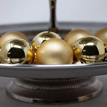 ToCi Mini Weihnachtskugeln Glas - 18er-Sets kleine Christbaumkugeln Ø3cm - Baumschmuck farblich Sortiert glänzend matt Weihnachten Deko Anhänger (Gold - Matt - Glänzend) - 3