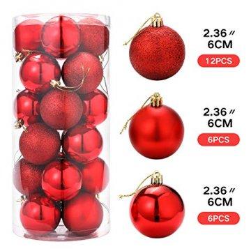 Unigoods 24 Weihnachtskugeln Baumschmuck Weihnachten Deko Anhänger modisch Glänzend Bruchsiche Weihnachtskugeln Winter Wünsche Weihnachten (Red) - 3