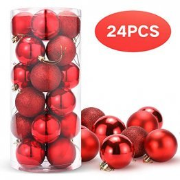 Unigoods 24 Weihnachtskugeln Baumschmuck Weihnachten Deko Anhänger modisch Glänzend Bruchsiche Weihnachtskugeln Winter Wünsche Weihnachten (Red) - 1