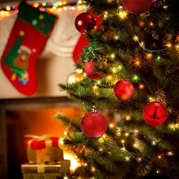 Unigoods 24 Weihnachtskugeln Baumschmuck Weihnachten Deko Anhänger modisch Glänzend Bruchsiche Weihnachtskugeln Winter Wünsche Weihnachten (Red) - 4