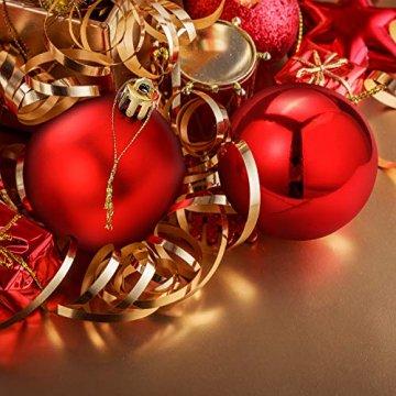 Unigoods 24 Weihnachtskugeln Baumschmuck Weihnachten Deko Anhänger modisch Glänzend Bruchsiche Weihnachtskugeln Winter Wünsche Weihnachten (Red) - 5