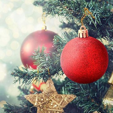 Unigoods 24 Weihnachtskugeln Baumschmuck Weihnachten Deko Anhänger modisch Glänzend Bruchsiche Weihnachtskugeln Winter Wünsche Weihnachten (Red) - 6