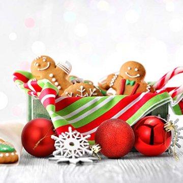 Unigoods 24 Weihnachtskugeln Baumschmuck Weihnachten Deko Anhänger modisch Glänzend Bruchsiche Weihnachtskugeln Winter Wünsche Weihnachten (Red) - 7