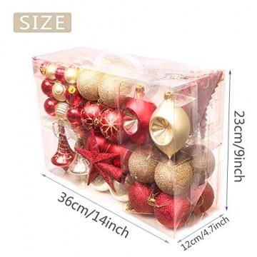 Valery Madelyn Weihnachtskugeln 100 TLG 3-13cm Kunststoff Christbaumkugeln zur Weihnachtsdekoration mit Weihnachtsbaumspitze und Aufhänger Weihnachtsdeko Thema Rot Gold MEHRWEG Verpackung - 2