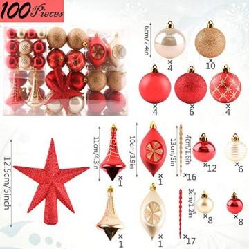 Valery Madelyn Weihnachtskugeln 100 TLG 3-13cm Kunststoff Christbaumkugeln zur Weihnachtsdekoration mit Weihnachtsbaumspitze und Aufhänger Weihnachtsdeko Thema Rot Gold MEHRWEG Verpackung - 3