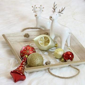 Valery Madelyn Weihnachtskugeln 100 TLG 3-13cm Kunststoff Christbaumkugeln zur Weihnachtsdekoration mit Weihnachtsbaumspitze und Aufhänger Weihnachtsdeko Thema Rot Gold MEHRWEG Verpackung - 4