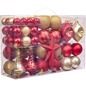 Valery Madelyn Weihnachtskugeln 100 TLG 3-13cm Kunststoff Christbaumkugeln zur Weihnachtsdekoration mit Weihnachtsbaumspitze und Aufhänger Weihnachtsdeko Thema Rot Gold MEHRWEG Verpackung - 1