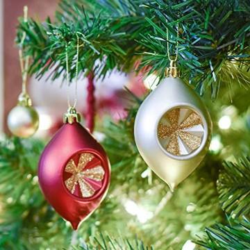 Valery Madelyn Weihnachtskugeln 100 TLG 3-13cm Kunststoff Christbaumkugeln zur Weihnachtsdekoration mit Weihnachtsbaumspitze und Aufhänger Weihnachtsdeko Thema Rot Gold MEHRWEG Verpackung - 5