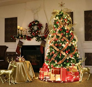 Valery Madelyn Weihnachtskugeln 100 TLG 3-13cm Kunststoff Christbaumkugeln zur Weihnachtsdekoration mit Weihnachtsbaumspitze und Aufhänger Weihnachtsdeko Thema Rot Gold MEHRWEG Verpackung - 7