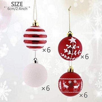 Valery Madelyn Weihnachtskugeln 24 Stücke 6CM Kunststoff Christbaumkugeln Weihnachtsdeko mit Aufhänger Weihnachtsbaumschmuck Set Weihnachtsdekoration Traditionelles Thema Rot Weiß MEHRWEG Verpackung - 3