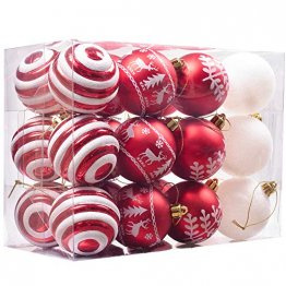 Valery Madelyn Weihnachtskugeln 24 Stücke 6CM Kunststoff Christbaumkugeln Weihnachtsdeko mit Aufhänger Weihnachtsbaumschmuck Set Weihnachtsdekoration Traditionelles Thema Rot Weiß MEHRWEG Verpackung - 1
