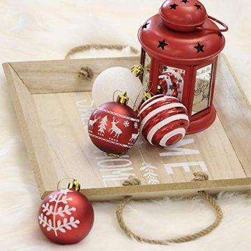 Valery Madelyn Weihnachtskugeln 24 Stücke 6CM Kunststoff Christbaumkugeln Weihnachtsdeko mit Aufhänger Weihnachtsbaumschmuck Set Weihnachtsdekoration Traditionelles Thema Rot Weiß MEHRWEG Verpackung - 4