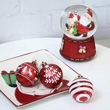 Valery Madelyn Weihnachtskugeln 24 Stücke 6CM Kunststoff Christbaumkugeln Weihnachtsdeko mit Aufhänger Weihnachtsbaumschmuck Set Weihnachtsdekoration Traditionelles Thema Rot Weiß MEHRWEG Verpackung - 5