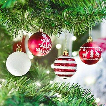 Valery Madelyn Weihnachtskugeln 24 Stücke 6CM Kunststoff Christbaumkugeln Weihnachtsdeko mit Aufhänger Weihnachtsbaumschmuck Set Weihnachtsdekoration Traditionelles Thema Rot Weiß MEHRWEG Verpackung - 6