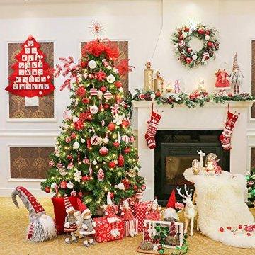 Valery Madelyn Weihnachtskugeln 24 Stücke 6CM Kunststoff Christbaumkugeln Weihnachtsdeko mit Aufhänger Weihnachtsbaumschmuck Set Weihnachtsdekoration Traditionelles Thema Rot Weiß MEHRWEG Verpackung - 7