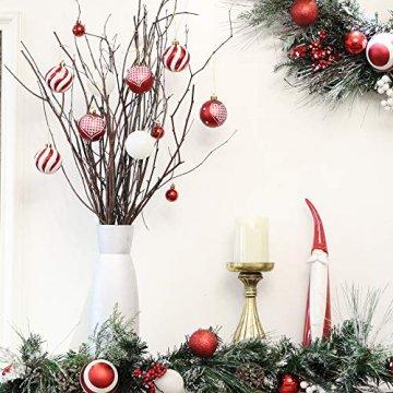 Valery Madelyn Weihnachtskugeln 30tlg 6cm Bruchsicher Plastik Christbaumkugeln Weihnachtsdeko mit Aufhänger Weihnachtsbaumschmuck Weihnachtsdekoration Traditionelles Thema Rot Weiß MEHRWEG Verpackung - 5
