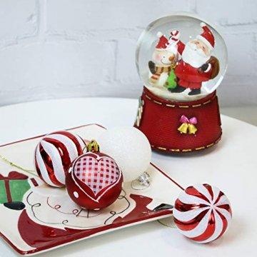 Valery Madelyn Weihnachtskugeln 30tlg 6cm Bruchsicher Plastik Christbaumkugeln Weihnachtsdeko mit Aufhänger Weihnachtsbaumschmuck Weihnachtsdekoration Traditionelles Thema Rot Weiß MEHRWEG Verpackung - 6