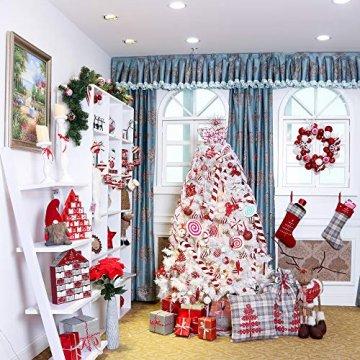 Valery Madelyn Weihnachtskugeln 30tlg 6cm Bruchsicher Plastik Christbaumkugeln Weihnachtsdeko mit Aufhänger Weihnachtsbaumschmuck Weihnachtsdekoration Traditionelles Thema Rot Weiß MEHRWEG Verpackung - 7