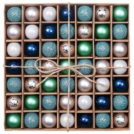 Valery Madelyn Weihnachtskugeln 49 Stücke 3CM Kunststoff Christbaumkugeln Weihnachtsdeko mit Aufhänger Glänzend Glitzernd Matt Baumschmuck Der Nordstern Thema Blau Grün Silber MEHRWEG Verpackung - 1