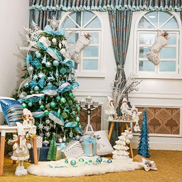 Valery Madelyn Weihnachtskugeln 49 Stücke 3CM Kunststoff Christbaumkugeln Weihnachtsdeko mit Aufhänger Glänzend Glitzernd Matt Baumschmuck Der Nordstern Thema Blau Grün Silber MEHRWEG Verpackung - 5