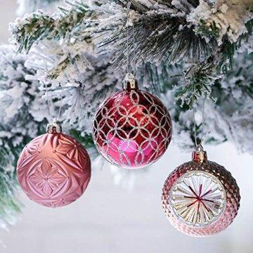 Victor's Workshop Weihnachtskugeln 16tlg.7cm Plastik Christbaumkugeln Set Christbaumschmuck für Weihnachtsbaum Dekoration Weihnachtsdeko Mysteriöser Palast Thema rosa lila Silber MEHRWEGVERPACKUNG - 1