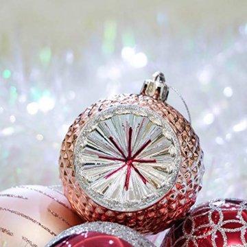 Victor's Workshop Weihnachtskugeln 16tlg.7cm Plastik Christbaumkugeln Set Christbaumschmuck für Weihnachtsbaum Dekoration Weihnachtsdeko Mysteriöser Palast Thema rosa lila Silber MEHRWEGVERPACKUNG - 6