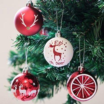 Victor's Workshop Weihnachtskugeln 20tlg.6cm Christbaumkugeln Weihnachtsbaumschmuck Plastik Weihnachten Deko mit Anhänger für Party Weihnachtsdeko Oh Hirsch Thema Rot Weiss MEHRWEGVERPACKUNG - 4