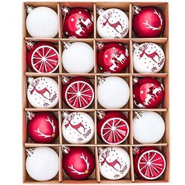 Victor's Workshop Weihnachtskugeln 20tlg.6cm Christbaumkugeln Weihnachtsbaumschmuck Plastik Weihnachten Deko mit Anhänger für Party Weihnachtsdeko Oh Hirsch Thema Rot Weiss MEHRWEGVERPACKUNG - 1