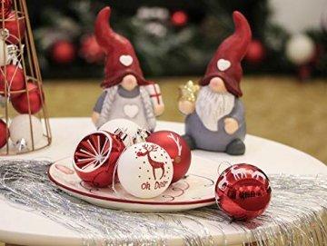 Victor's Workshop Weihnachtskugeln 20tlg.6cm Christbaumkugeln Weihnachtsbaumschmuck Plastik Weihnachten Deko mit Anhänger für Party Weihnachtsdeko Oh Hirsch Thema Rot Weiss MEHRWEGVERPACKUNG - 6