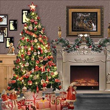 Victor's Workshop Weihnachtskugeln 20tlg.6cm Christbaumkugeln Weihnachtsbaumschmuck Plastik Weihnachten Deko mit Anhänger für Party Weihnachtsdeko Oh Hirsch Thema Rot Weiss MEHRWEGVERPACKUNG - 8